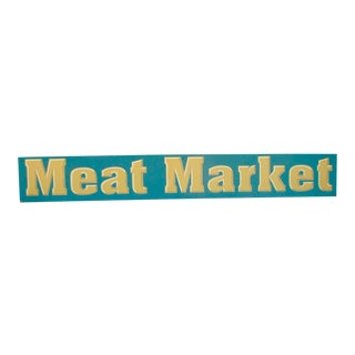 Vintage Wood Meat Market Sign