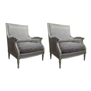 Antique French Louis XVI Painted Armchairs - A Pair