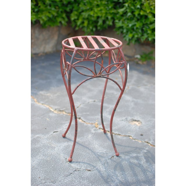 Antique Red Metal Planter Stand - Image 2 of 4