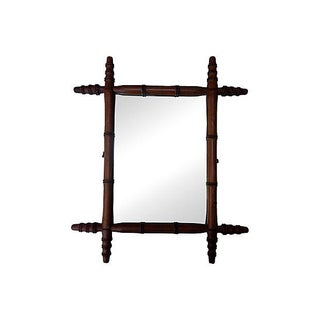 Antique French Bamboo Mirror