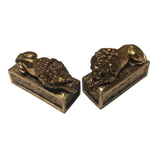 Regal Vintage Gold Gilded Lion Bookends - A Pair