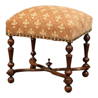 19th Century French Louis XIII Carved Walnut Stool