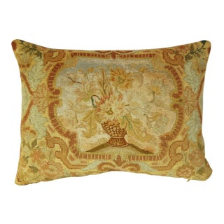 1850s Antique French Floral Needlepoint Pillow