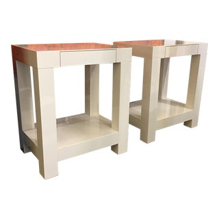 White Lacquered Side Tables - A Pair