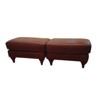 Dark Brown Leather Ottomans - A Pair