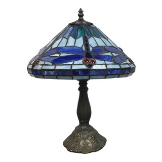 Tiffany Style Dragonfly Motif Table Lamp