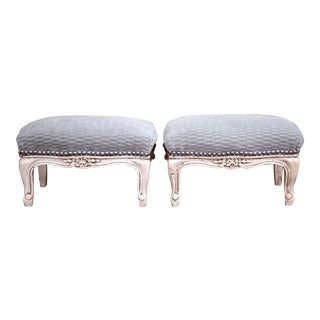 Pair of Late 19th Century French Louis XV Carved Painted Footstools with Velvet