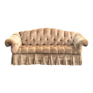 Harrods Gold Velvet Tufted Couch