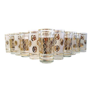 Mid-Century Gold Highball Glasses - Set of 12