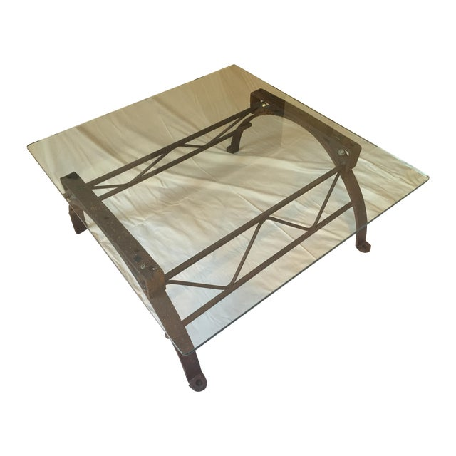 Repurposed Iron Barrel Holder Glass Top Table - Image 1 of 7