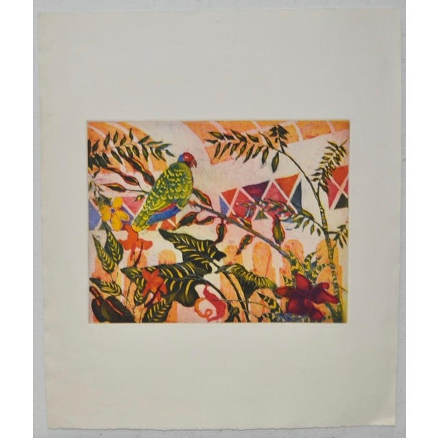 'Tropical Parrot' Colorful Monoprint - Image 2 of 8