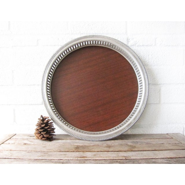 Vintage Faux Wood and Silver Aluminum Bar Tray - Image 3 of 7