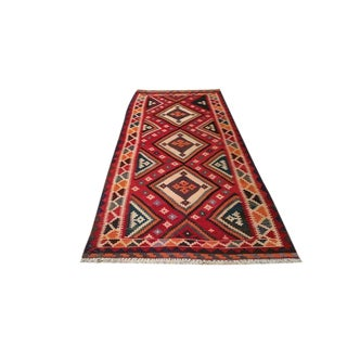 4′4″ × 9′10″ Vintage Kilim Hand Made Wide Runner Rug - Size Cat. 5x8 6x9