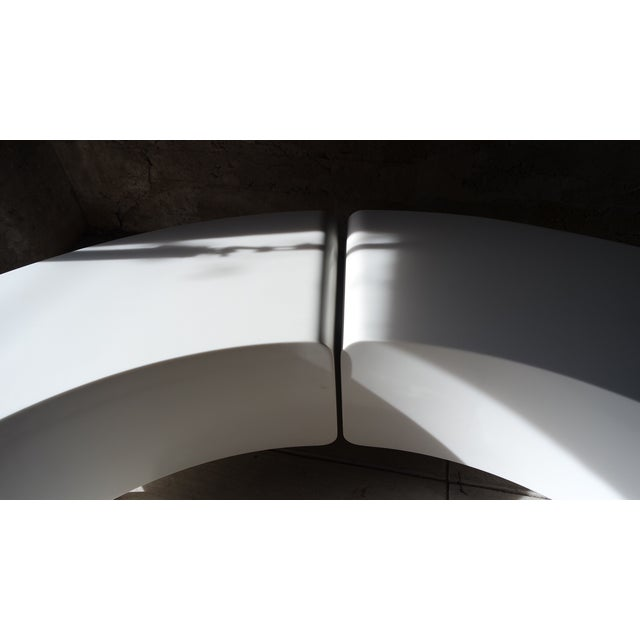 Image of Custom Curved White Corian Benches/Tables - A Pair