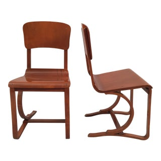 Mid-Century Danish Bent Plywood & Walnut Chairs - A Pair