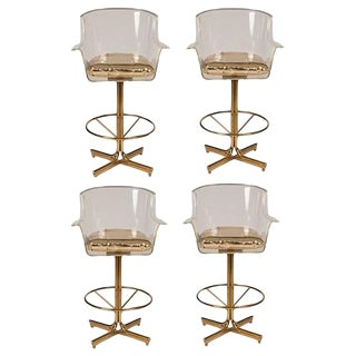 1970s Charles Hollis Jones Lucite & Brass Swivel Bar Stools – Set of 4