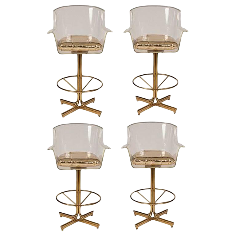 1970s charles hollis jones lucite u0026 brass swivel bar stools u2013 set