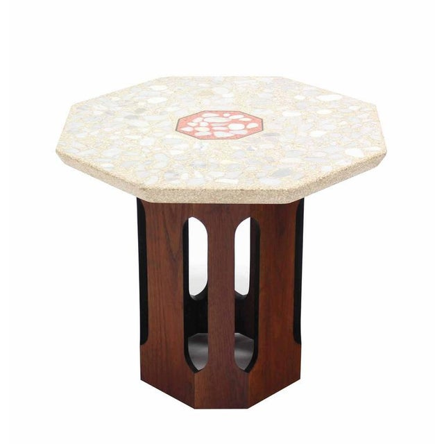 Pair of Octagon Shape Travertine Top End or Side Table on Walnut Bases - Image 4 of 7