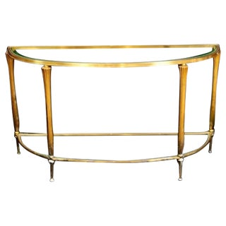 Two-Tier Demilune Brass Console