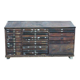 Vintage French Printer's Cabinet Console