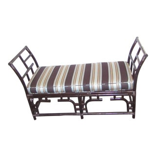 Black Bamboo Large Bench With Curved Ends
