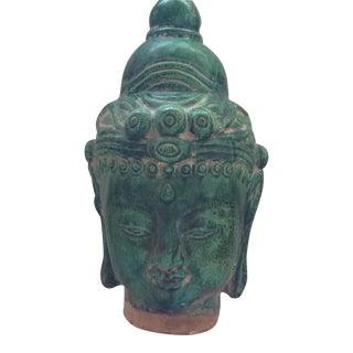 Jade Majolica Glazed Buddha Head