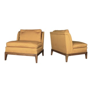 Drexel Vintage Mid-Century Gold Slipper Chairs - A Pair