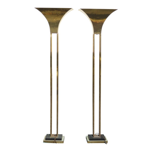 Mid-Century Art Deco Brass Plated Torchiere Floor Lamps - a Pair - Image 1 of 11