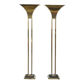 Mid-Century Art Deco Brass Plated Torchiere Floor Lamps - a Pair