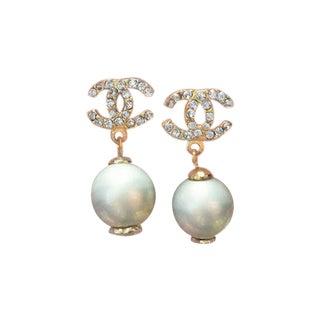 Chanel CC Light Blue Rhinestone Pearl Earrings