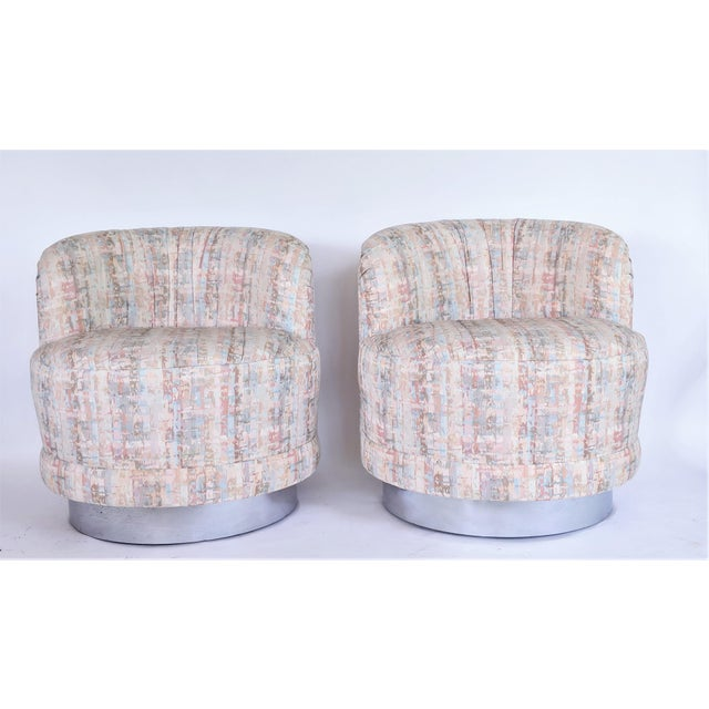 Milo Baughman Style Swivel Lounge Chairs - a Pair - Image 6 of 10