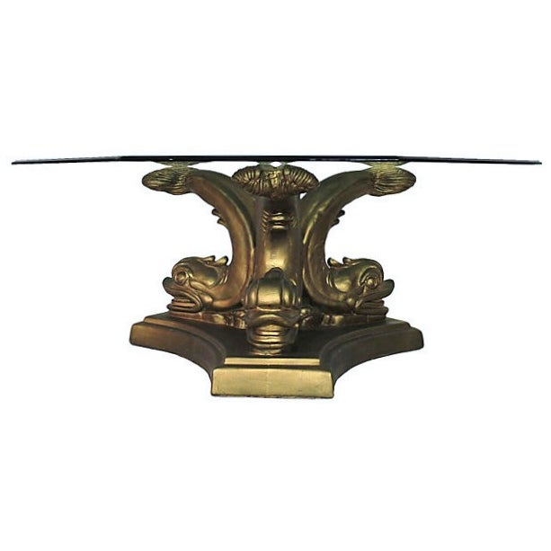 Gilt Dolphin Coffee Table - Image 5 of 5