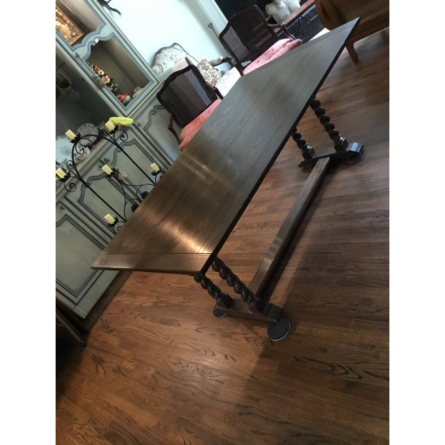Ethan Allen Jacobean Barley Twist Expanding Banquet Dining Room Trestle Table - Image 2 of 9
