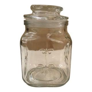 Vintage Fluer De' Lis Glass Canister Jar