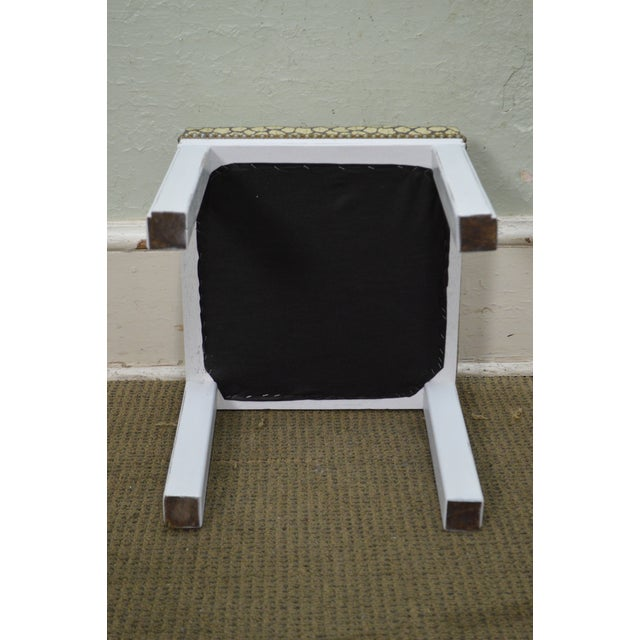 Mid Century Pair of Custom Painted Square Stools Benches - Image 10 of 11