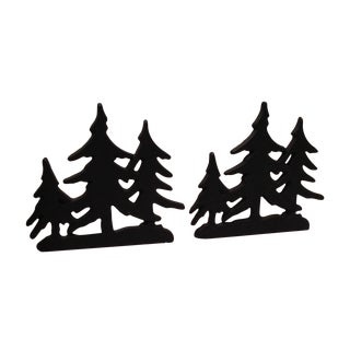 Cast Iron Tree Bookends - A Pair