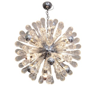 Italian Glass and Chrome Sputnik Chandelier
