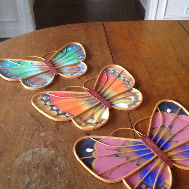 Vintage Rattan & Fabric Butterfly Wall Art - Set of 3 - Image 11 of 11