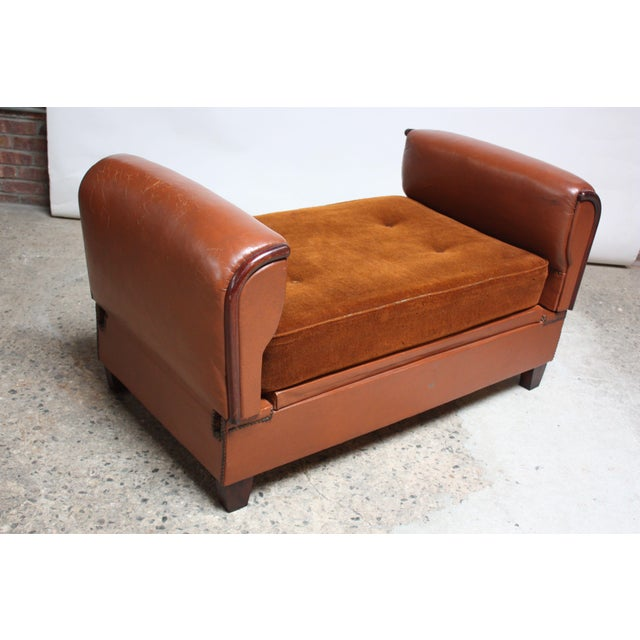 French Deco Leather and Mohair Daybed - Image 3 of 11
