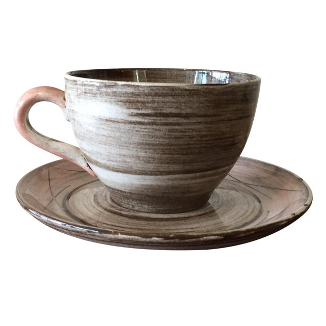 Stylized Spiral Tea Cup & Saucer - Image 1 of 9