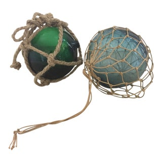 Small Antique Glass Fishing Floats - A Pair