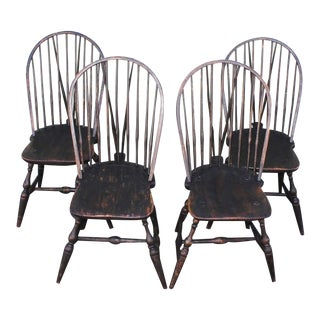 18th Century Set of Four Brace Back, New England, Windsor Chairs