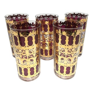 "Vintage Culver ""Cranberry Scroll"" Highball Glasses - Set of 5"