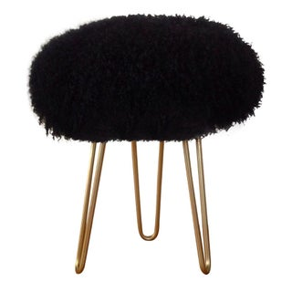 Genuine Mongolian Lamb Black Fur Stool
