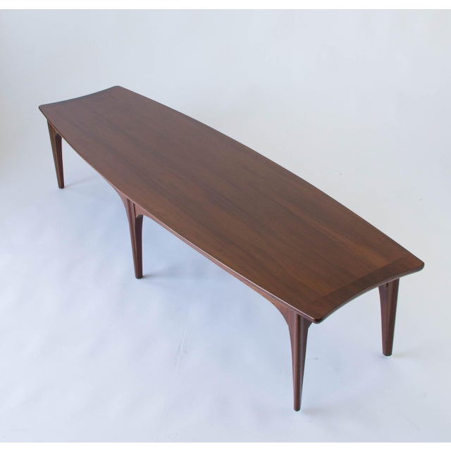American Walnut & Rosewood Surfboard Coffee Table - Image 4 of 7