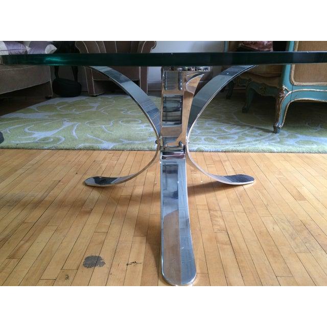 Chrome Base Circle Glass Top Coffee Table - Image 6 of 11