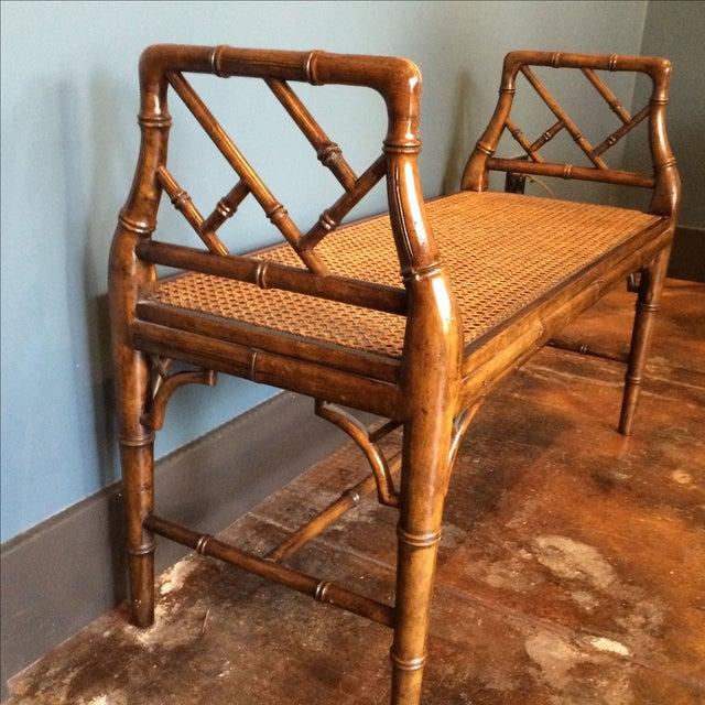 Wood And Cane Bench Chairish