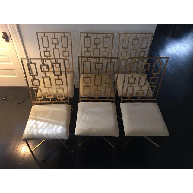 Worlds Away David Gold Iron Chairs - Set of 6 - Image 4 of 11