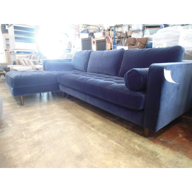 Navy Blue Velvet Sectional W/ Tufted Seat, Left Chaise - Image 4 of 6