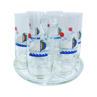 Mid-Century Sail Theme Glasses With Carrier